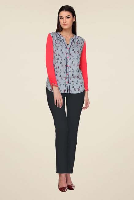 Kaaryah Grey & Red Printed Shirt