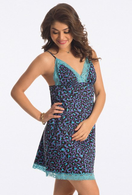 PrettySecrets Purple Animal Print Cotton Chemise