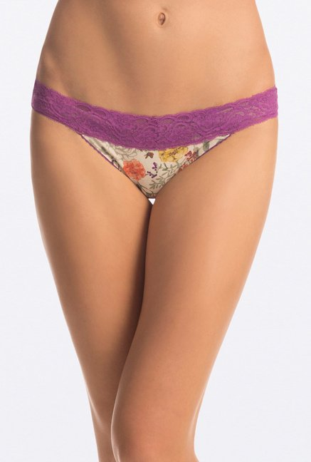 PrettySecrets Purple & Yellow Band Lacy Thongs (Pack of 2)