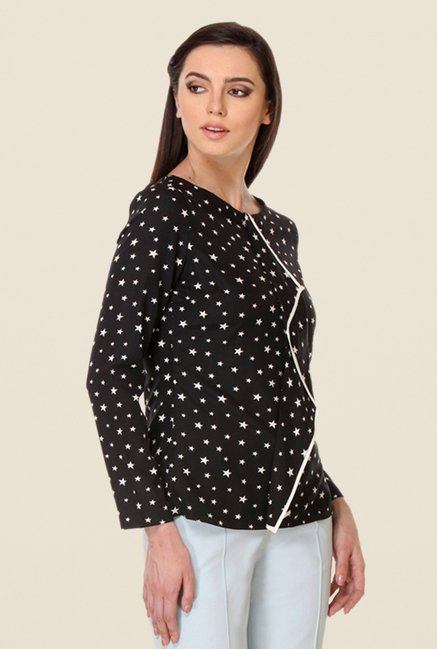 Kaaryah Black Full Sleeves Printed Top