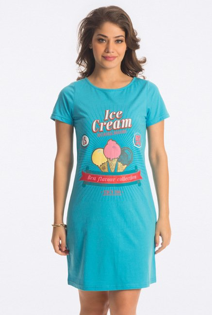 PrettySecrets Blue Graphic Print Sleepshirt