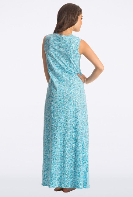 PrettySecrets Blue Rose Floral Print Long Nightdress