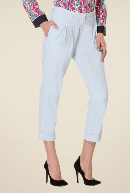 Kaaryah Light Blue Straight Fit Capri Trousers