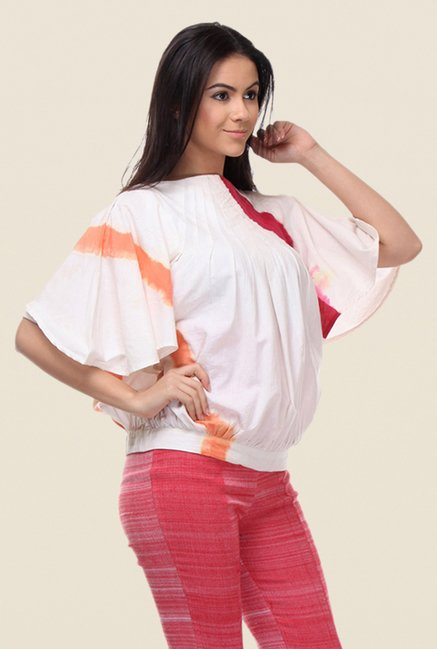 Kaaryah White Cotton Printed Top