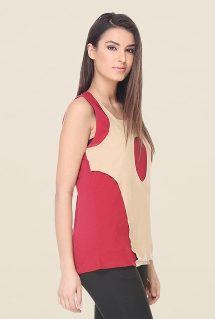 Kaaryah Beige & Red Solid Top