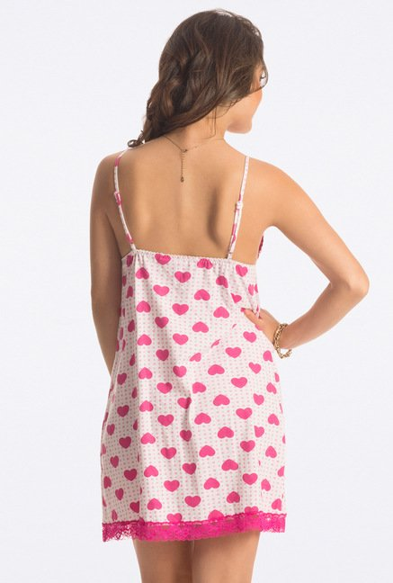 PrettySecrets Candy Pink Heart Print Chemise