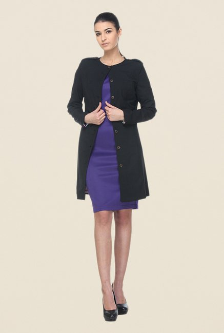 Kaaryah Black Solid Coat