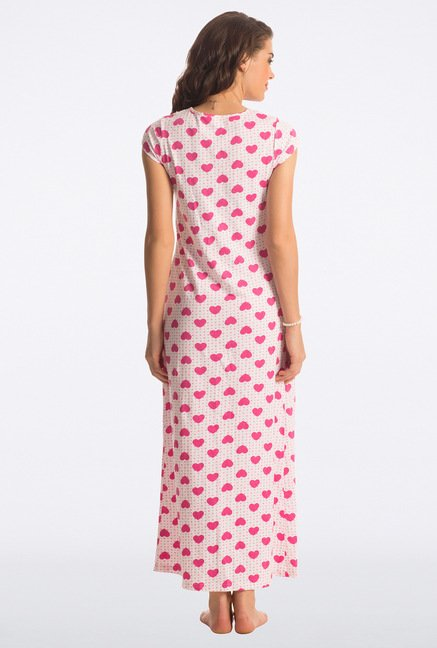 PrettySecrets Candy Pink Heart Print Long Nightdress