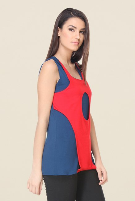 Kaaryah Red & Blue Solid Top
