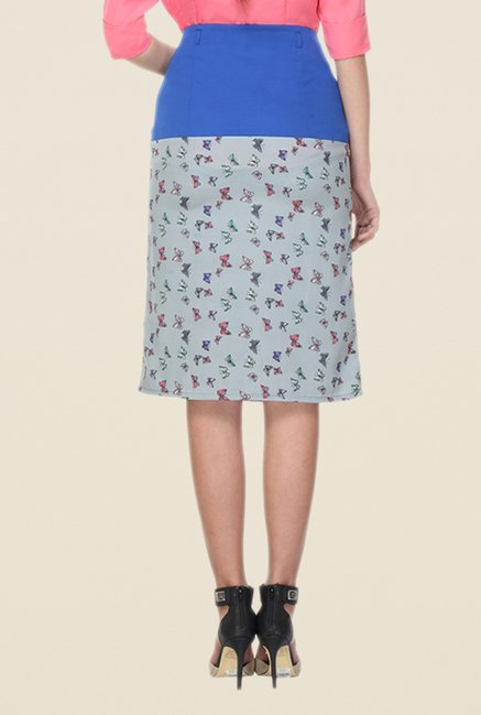 Kaaryah Grey & Blue Printed A Line Skirt