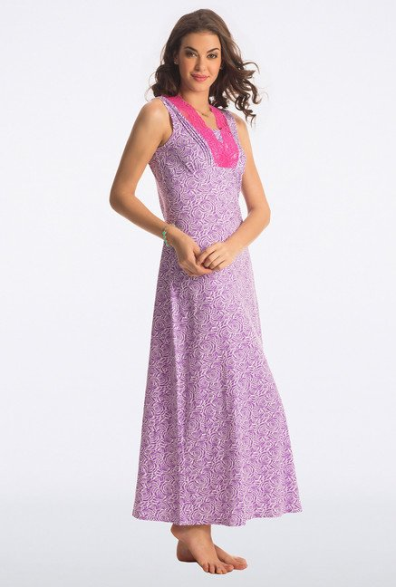 PrettySecrets Purple Rose Floral Print Long Nightdress
