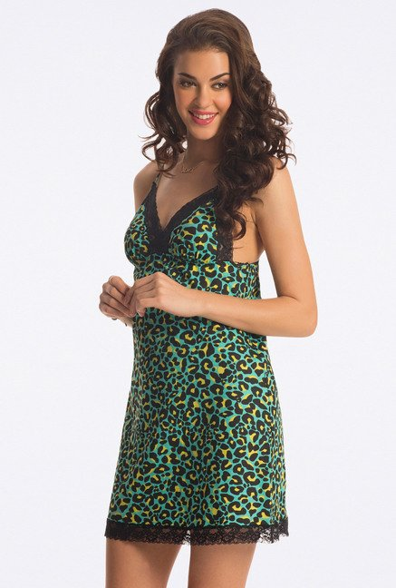 PrettySecrets Green Animal Printed Chemise