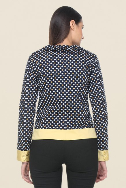 Kaaryah Navy & Yellow Printed Jacket
