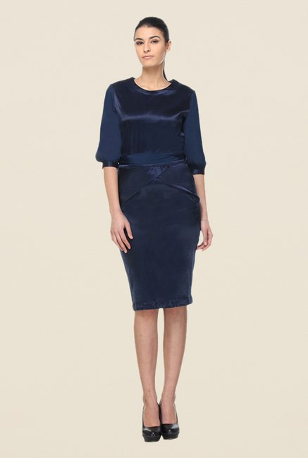 Kaaryah Navy Solid Dress