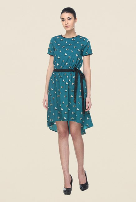 Kaaryah Teal Asymmetrical Printed Dress