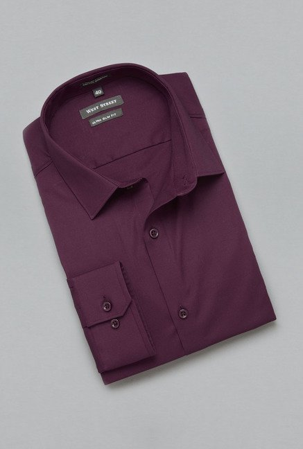 Weststreet by Westside Maroon Solid Shirt