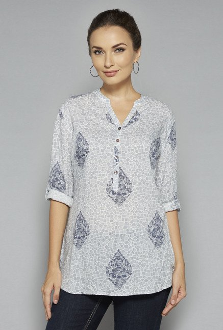 Utsa by Westside Light Blue Printed Kurti