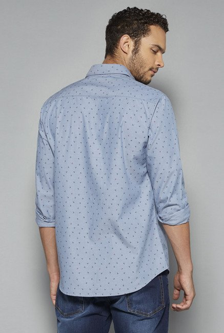 Westsport by Westside Blue Printed Shirt