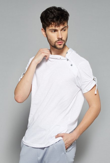 Nuon Men by Westside White Solid T Shirt