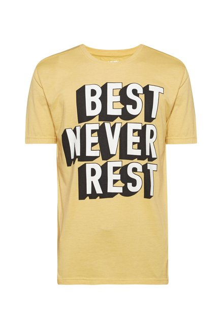 Nuon Men by Westside Yellow Printed T Shirt