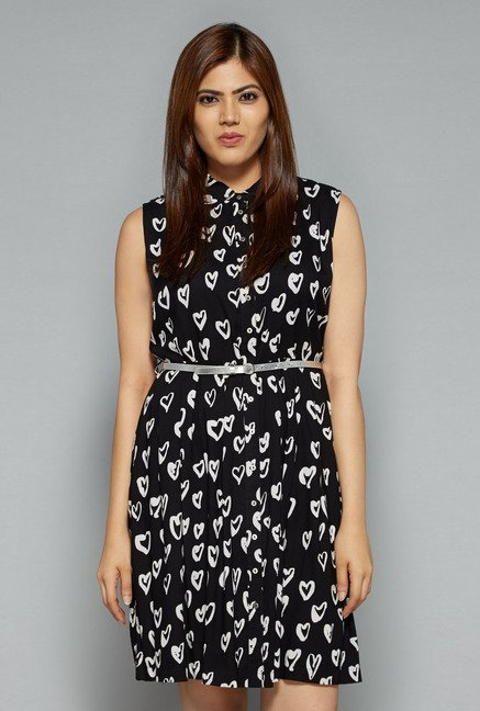 Sassy Soda by Westside Black Heart Print Dress