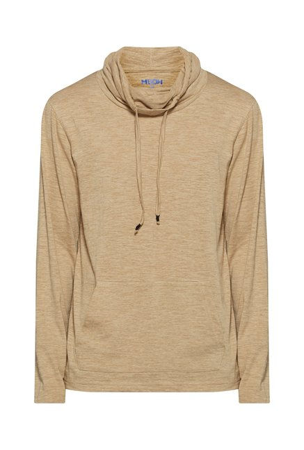 Nuon Men by Westside Beige Solid Sweatshirt