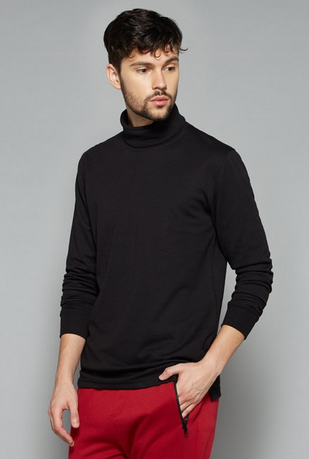 Nuon Men by Westside Black Solid Sweatshirt