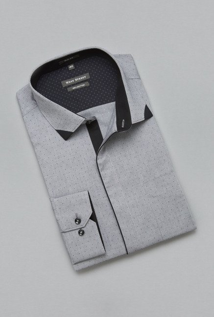Weststreet by Westside Grey Printed Shirt