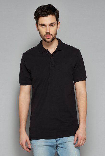 Nuon Men by Westside Black Solid Polo T Shirt