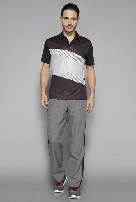 Westsport by Westside Brown Striped Polo T Shirt