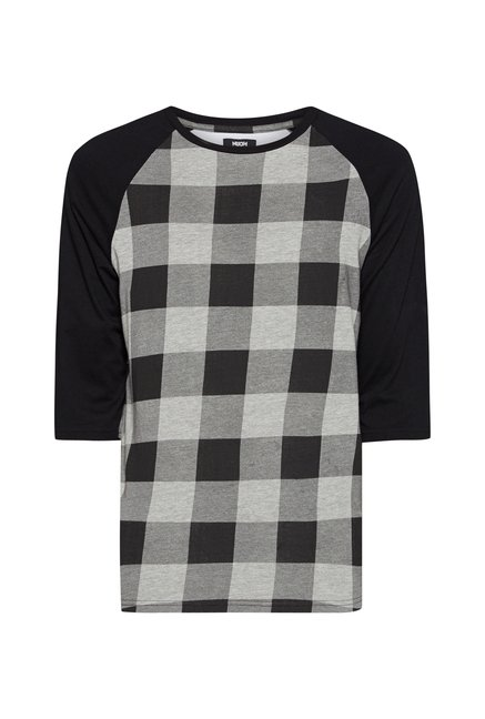 Nuon Men by Westside Grey Checks T Shirt