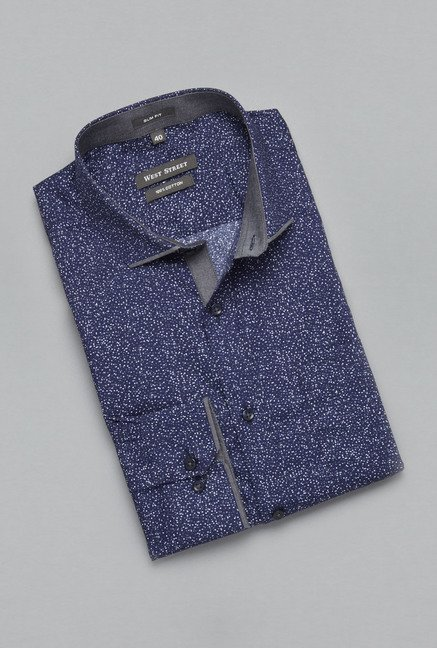 Weststreet by Westside Navy Printed Shirt