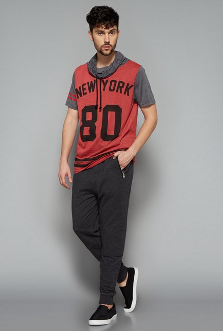 Nuon Men by Westside Red Printed T Shirt