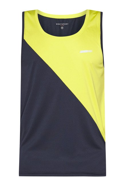 Westsport by Westside Navy & Yellow Solid Tank