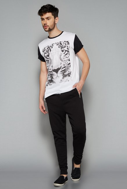 Nuon Men by Westside White Animal Print T Shirt