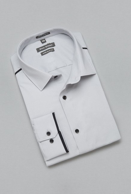 Weststreet by Westside Grey Solid Shirt