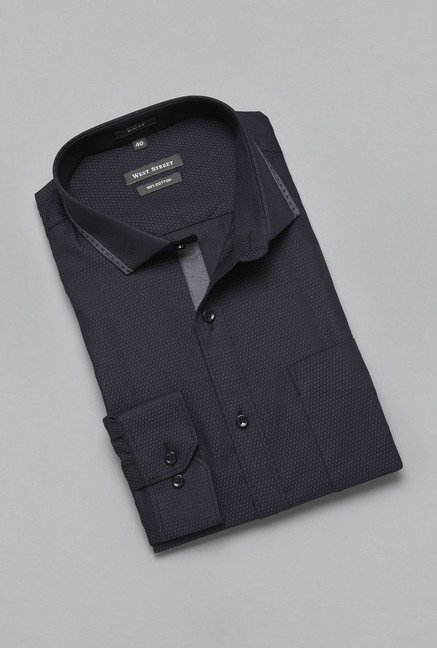 Weststreet by Westside Black Self Print Shirt