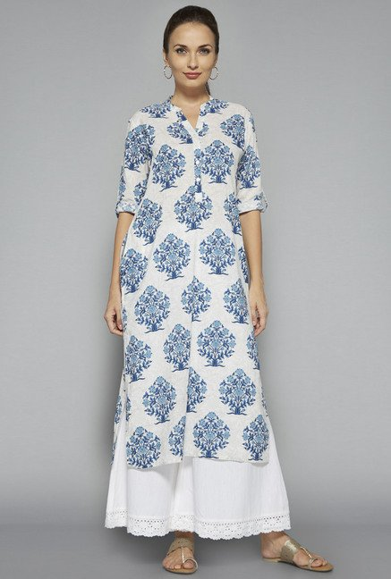 Utsa by Westside Off White Floral Print Kurta