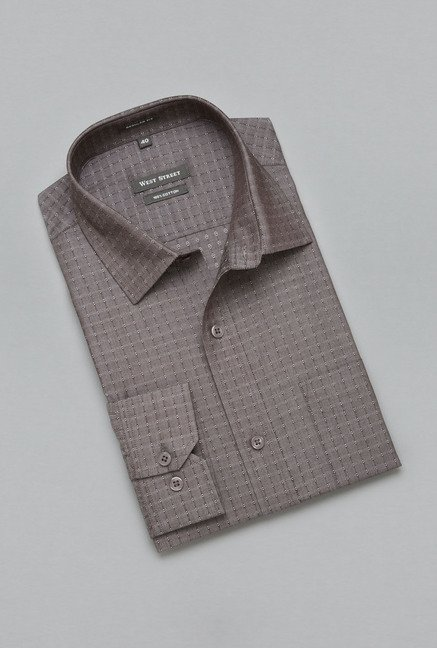 Weststreet by Westside Brown Self Print Shirt