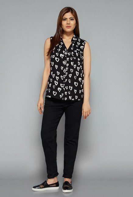 Sassy Soda by Westside Black Heart Print Blouse