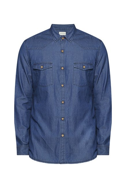 Westsport by Westside Blue Solid Shirt