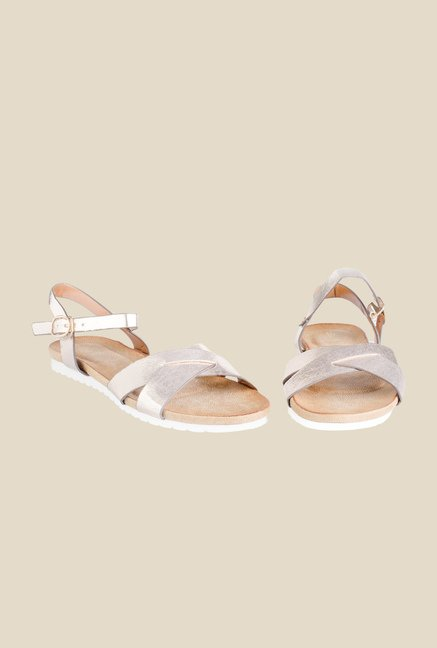 Tresmode Gold Ankle Strap Sandals