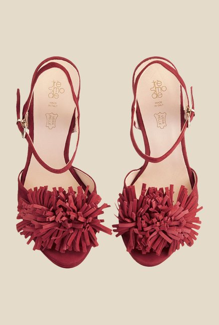 Tresmode Chic Red Ankle Strap Sandals