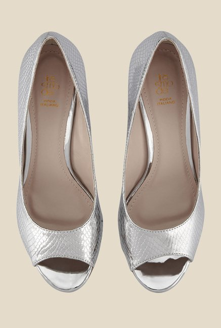 Tresmode Classy Silver Peeptoe Shoes