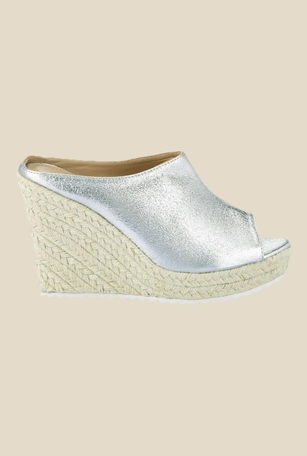 Tresmode Silver Wedge Heeled Mules