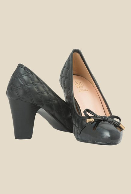 Tresmode Black Block Heeled Pumps