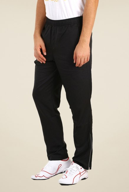 Puma Black Solid Polyester Trackpants