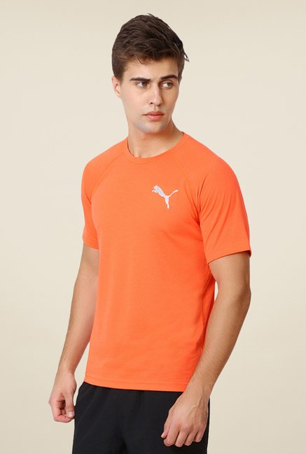 Puma Orange Solid T-shirt