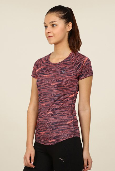 Puma Navy & Orange Printed Tee