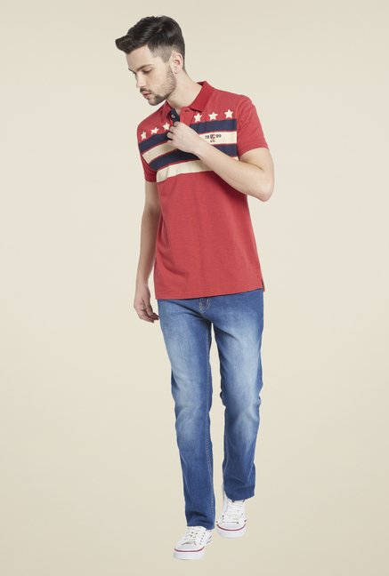 Globus Red Striped Polo T Shirt